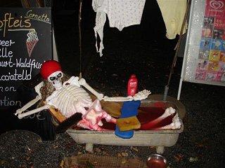 Skelett in der Badewanne